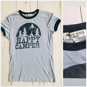 Brave Soul Happy Camper Blue Tee XS